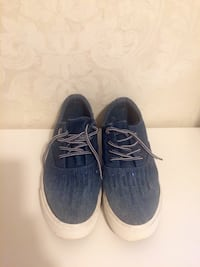 Blue denim sequins flat sneakers size 37 Athens