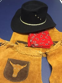 cowboy hat, leather chaps,vest, lasso and red scarf Lawrenceville, 30043