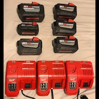 Milwaukee batteries and chargers Brantford, N3T 6C9