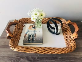 Rustic Cream Wicker TV Tray
