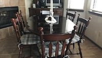 Brown wooden dining table set 6 chairs oval table Edmond, 73013