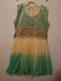 Sea green and cream colored dress for girls 3 -4