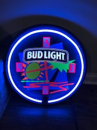 Vintage BUD LIGHT Beer Tropical Neon Light Clock Indianapolis, 46214