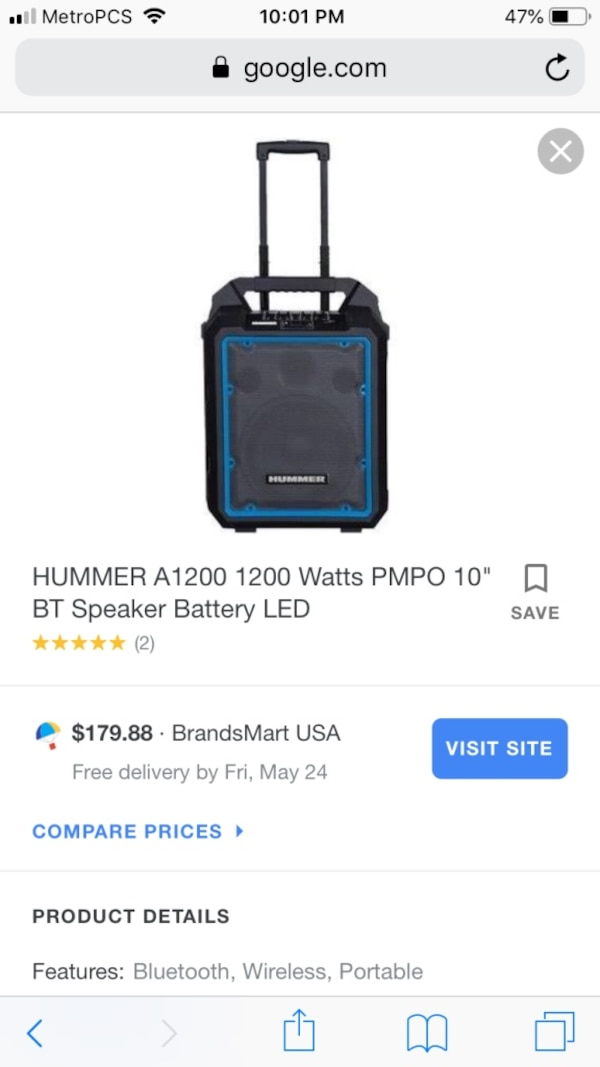 1200 watt portable Bluetooth speaker  online is $179   is brand new  am  willing to sell for 150 or open to fair trades  give me an offer