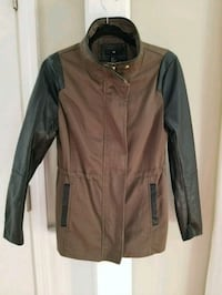 black faux leather MILITARY zip-up jacket H&M Concord, 01742