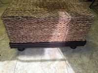 Large wicker ottoman with storage