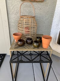 Wicker/Glass Candle Lantern 4 Decorative candle holders 2 planters Lot