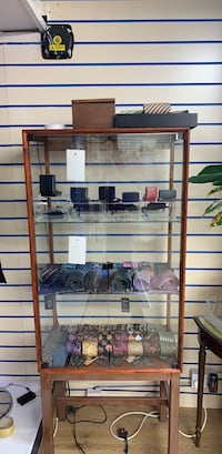 Brown wooden framed glass display cabinet Bromley, BR1 1NY