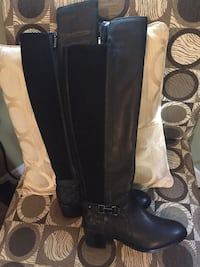 Pair of black leather side-zip knee-high boots size 6 Grand Bay-Westfield, E5K 1G6