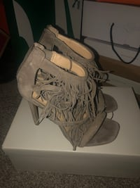 Pair of gray open toe ankle strap heels  Upper Marlboro, 20774