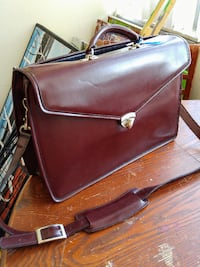 JACK GEORGES Burgundy Brown Leather Briefcase Laptop Messenger Bag Tote Made In USA