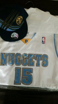 white and blue Denver Nuggets #15 jersey Victorville, 92392