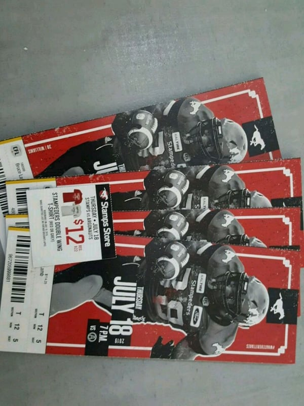 4 tickets to stamps game (July 18) dbf3357c-22c5-4f26-97ea-fe7d238727ea