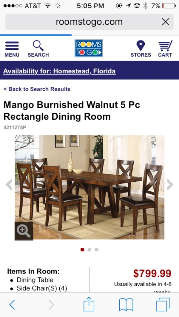 Used Rooms To Go Dining Table For Sale In Homestead Letgo - Mango burnished walnut dining table