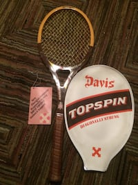 black and brown Davis Topspin racket with case 1980 Coppell, 75019