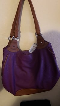 Women's purple and brown leather tote bag Terrell, 75160