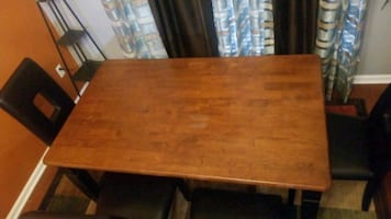 Dinning Table Set with 4 Leather Chairs and a 2 Person Bench Seat