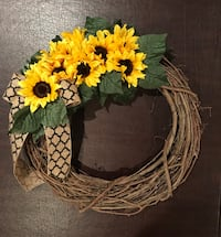 yellow sunflowers accent brown twig wreath Roslyn Heights, 11577