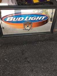 Bud light wooden wall mounted mirror