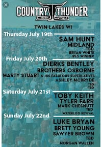 Two 4-Day Passes to Country Thunder 2018! Belvidere, 61008