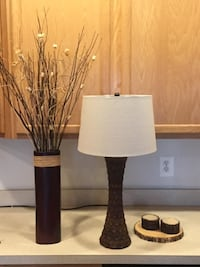 Lamp and Coordinating Dried Floral Arrangements and Rustic Candle Set $10-$20