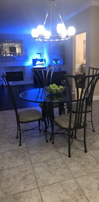 Round glass top table with four chairs dining set Islandia, 11749