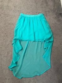 Turquoise high-low high waisted skirt
