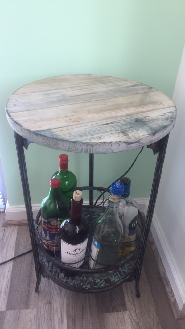 side table with bottle holder