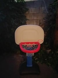 white red and blue Little Tikes basketball system