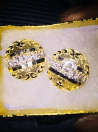 pair of round gold-colored stud earrings with box Rochester, 14621