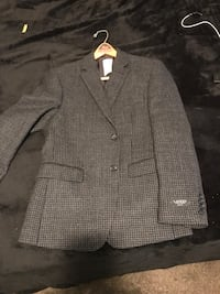 Gray pinstriped notch lapel suit jacket