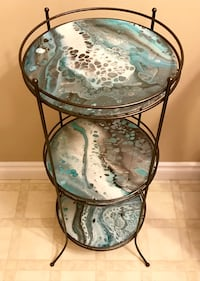 Hand painted Original Art on glass, 3 tiered table Delta, V4E 2Y2