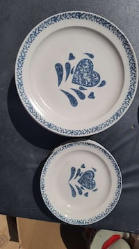 white and blue ceramic plate with saucer set 451 mi