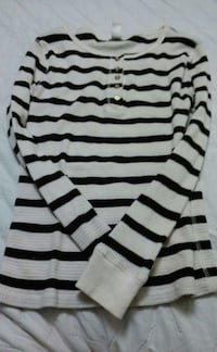 white and black stripe long sleeve top❤