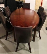 HIGH END BASSETT Real Walnut Oval Dining Set w/ 8 slate coloured chairs Brampton, L6T 5E7