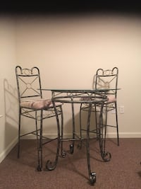 Metal framed glass top table with barstools Raleigh, 27610