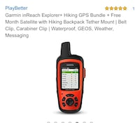 Garmin inReach Explorer+ Hiking GPS Bundle + Free Month Satellite with Hiking Backpack Tether Mount | Belt Clip, Carabiner Clip | Waterproof Placentia, 92870