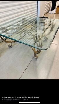 Square Bronze Glass Coffee Table $ Retail 1000.00