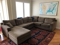 "Gray suede sectional sofa with throw pillows. Human in photo for size comparison. He is 5'11"". Couch is very comfy. Price negotiable. Need it picked up Saturday April 28th   San Francisco, 94117"