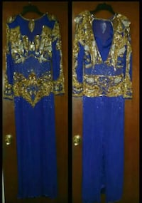 Gown Sequin Royal Blue and Gold Sequin Gown  Kenner