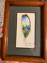 """Feather painting from Nicaragua (frame 4""""x 5.5"""") Franklin Square, 11010"""