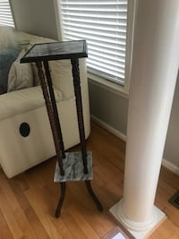 Planter stand with Wood and marble-good condition Sterling, 20165