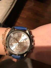 round silver chronograph watch with blue leather strap Blainville, J7C