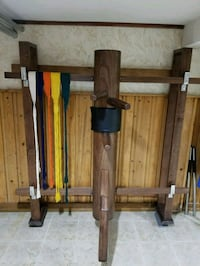 brown wooden stand rack