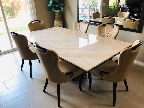 7pc Beige Marble table•Delivery and installation•No credit check d433301c-e496-4c24-ab56-60ece5336115