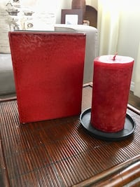 Beautiful Vase set with red candle and metal candle holder  Calgary, T2Y 4H5