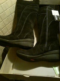 New pair of black suede boots