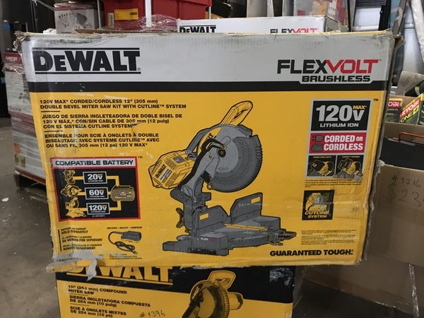 DEWALT FLEXVOLT 120-Volt MAX Lithium-Ion Cordless Brushless 12 in  Miter  Saw w/ AC Adapter (Tool-Only)