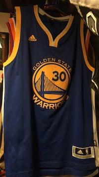blue and yellow Golden State Warriors Stephen Curry 30 jersey 1951 km
