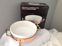 CERAMIC CASSEROLE DISH with COPPER HOLDER